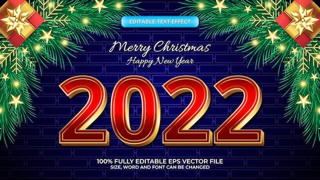 럭셔리 레드 골드 굵은 3d 편집 가능한 텍스트 효과로 기쁜 성탄과 새해 복 많이 받으세요