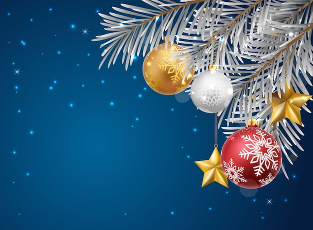 С рождеством и новым годом с красными и золотыми шарами и конфетти