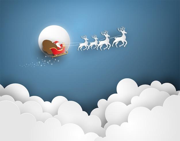 Веселого рождества и счастливого нового года с санта-клаусом на облаке.