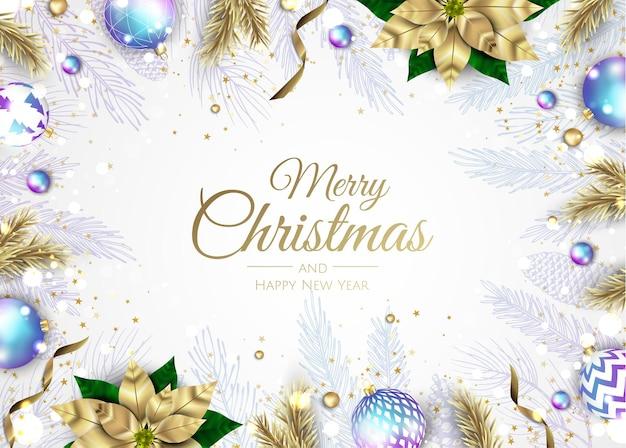 Веселого рождества и счастливого нового года. рождественский фон с пуансеттия, снежинки, звезды и дизайн шаров. поздравительная открытка, праздничный баннер, веб-плакат