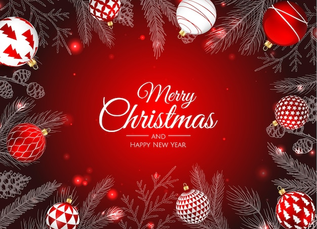 メリークリスマス、そしてハッピーニューイヤー。ポインセチア、雪片、星とボールとクリスマスの背景。グリーティングカード、ホリデーバナー、ウェブポスター