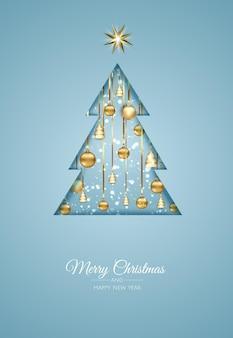 Веселого рождества и счастливого нового года. рождественский фон с настоящим, снежинки, звезды и дизайн шаров. поздравительная открытка, праздничный баннер, веб-плакат