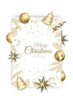 メリークリスマス、そしてハッピーニューイヤー。輝く金の雪片とクリスマスの背景。グリーティングカード、ホリデーバナー、ウェブポスター。