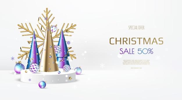 Веселого рождества и счастливого нового года. рождественский фон с дизайном снежинки и шары.