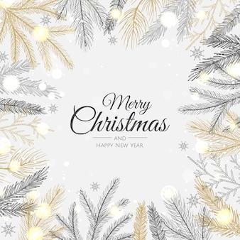 メリークリスマス、そしてハッピーニューイヤー。雪片、星、ボールとクリスマスの背景。グリーティングカード、ホリデーバナー、ウェブポスター