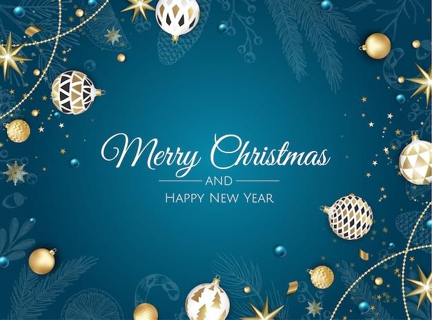 メリークリスマス、そしてハッピーニューイヤー。クリスマスツリー、雪片、星とボールとクリスマスの背景。グリーティングカード、ホリデーバナー、ウェブポスター