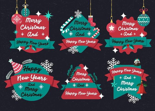 メリークリスマスと新年あけましておめでとうございますバッジ背景冬のイベントフラット12月の文化お祭りシーズンの伝統