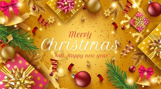 メリークリスマスと新年あけましておめでとうございますゴールデンポスター、ゴールデンギフトボックス、リボン、クリスマスの装飾要素