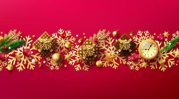 С рождеством и новым годом красный мерзавец с подарочной коробкой и элементами рождественского декора