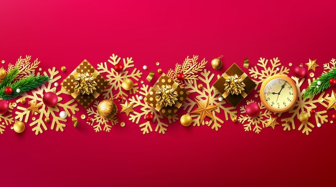 메리 크리스마스와 해피 뉴 이어 선물 상자와 크리스마스 장식 요소와 레드 blackguard