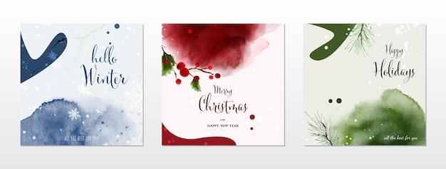 メリークリスマスとホリデースクエアカードの水彩画コレクション。手描きの水彩画で季節の葉と雪が降っています。カードのデザイン、新年の招待状に適しています。