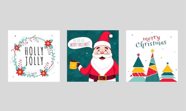 꽃 화 환과 메리 크리스마스와 홀리 졸리 포스터 디자인
