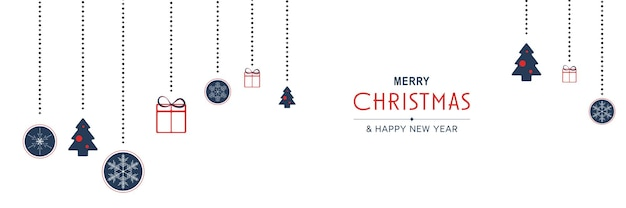 메리 크리스마스와 새 해 2022 포스터 크리스마스 매달려 나무와 최소한의 배너 디자인