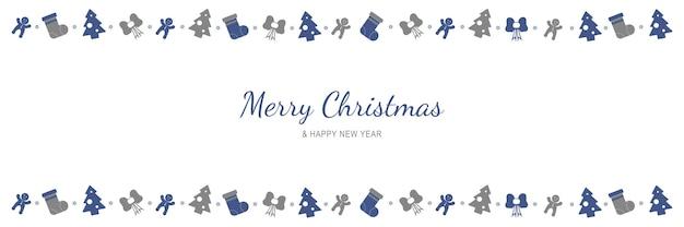 메리 크리스마스와 새 해 2022 포스터 크리스마스 휴일 기호 테두리가 있는 최소한의 배너