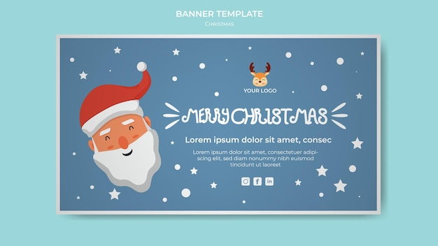С рождеством и новым годом рекламный флаер шаблон