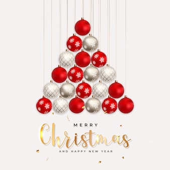 メリークリスマスと新年の背景。ベクトルイラスト