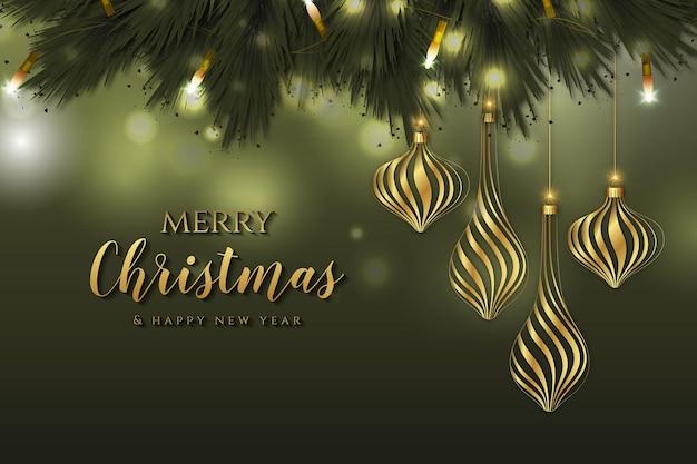 装飾用ボールとメリークリスマスと新年の背景
