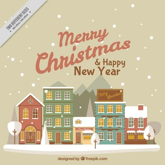 Merry christmas and new year background with beautiful houses facades