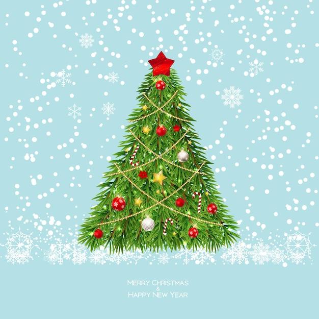 크리스마스 트리와 함께 메리 크리스마스와 새 해 배경입니다. 벡터 일러스트 레이 션 eps10