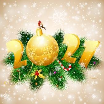 モミの枝、安物の宝石、ウソ、様式化されたメリークリスマスと新年の背景。カバー、チラシ、パンフレット、グリーティングカードのテンプレート