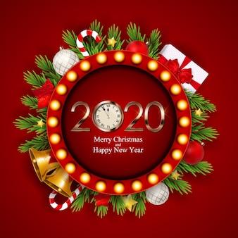 Счастливого рождества и нового года фон.