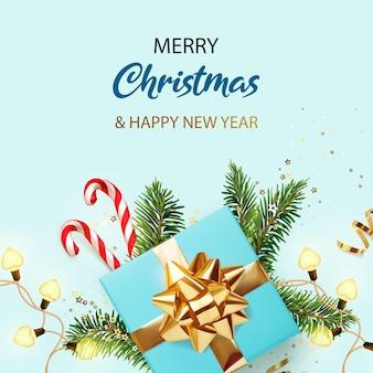С рождеством и новым годом баннер синий рождественский фон