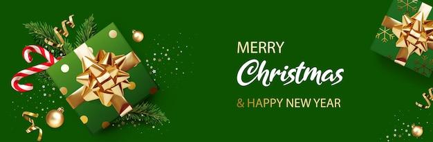 С рождеством и новым годом баннер зеленый рождественский фон