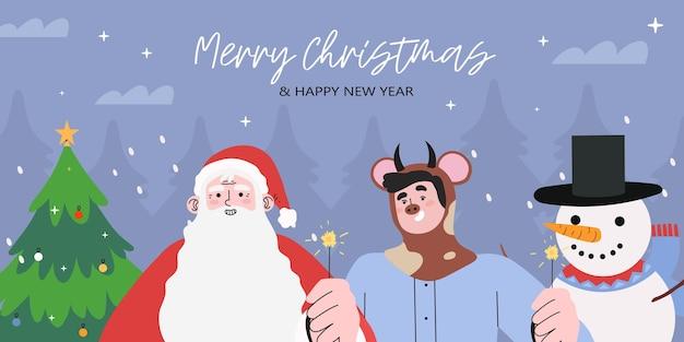 Веселого рождества и нового года баннер или поздравительную открытку.