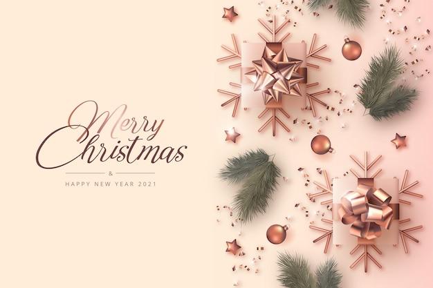 リアルな装飾が施されたメリークリスマスと新年のカード