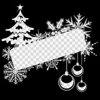 С рождеством и новым годом рамка со снежинками, шарами и елкой. векторная иллюстрация на прозрачном фоне