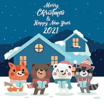 귀여운 겨울 동물 메리 크리스마스와 새 해 인사 배경