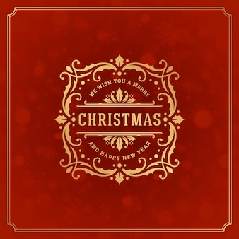 メリークリスマスと新年のグリーティングカードと雪の光。休日はレトロなタイポグラフィラベルのデザインとヴィンテージの装飾品の装飾を望みます。