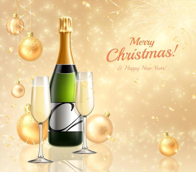 シャンパンとグラスを使ったメリー クリスマスと新年のグリーティング カード