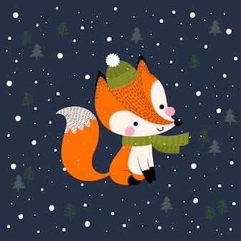 Поздравительная открытка с рождеством и новым годом с милой лисой