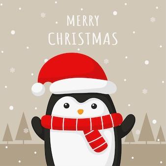 灰色の背景にペンギンとメリークリスマスと新年のグリーティングカード。