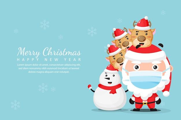 Поздравительная открытка с рождеством и новым годом со снеговиком и оленями санта-клауса в медицинских масках