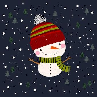 Поздравительная открытка с рождеством и новым годом со снеговиком.