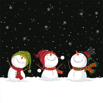 Поздравительная открытка с рождеством и новым годом со снеговиками