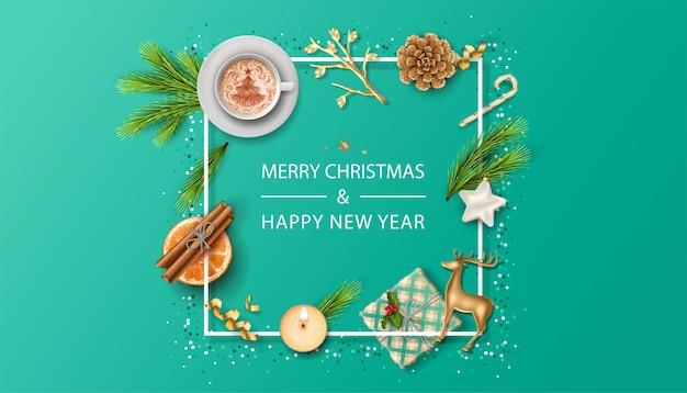 С рождеством и новым годом праздничный баннер