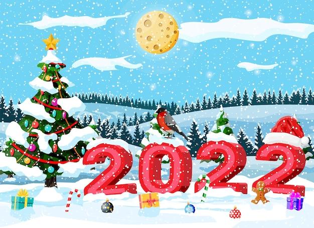 기쁜 성 탄과 새 해 휴일 인사말 카드