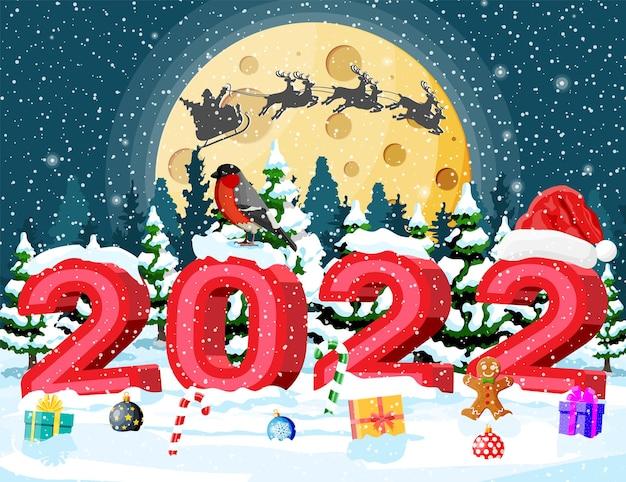 2022년 굵은 글씨로 된 메리 크리스마스와 새해 휴일 인사말 크리스마스 카드. 산타 클로스 모자, 선물 상자, 사탕 지팡이, 유리 공 및 진저 브레드 맨. 멋쟁이 새의 일종 겨울 새. 평면 벡터 일러스트 레이 션