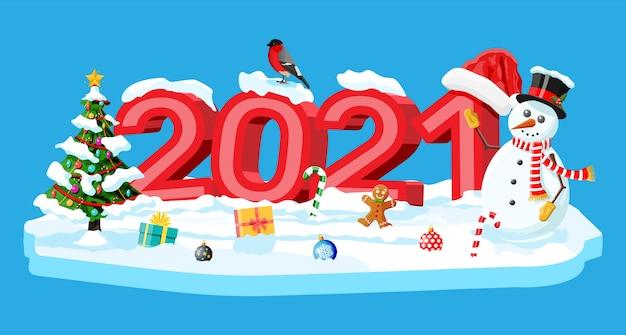 メリークリスマスと新年の休日のグリーティングクリスマスカード