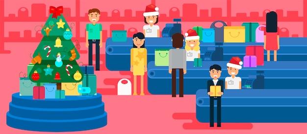 С рождеством и новым годом в магазине. магазин с толпой клиентов и кассир возле кассы. подарки и подарки. иллюстрация концепции покупок. продажа баннеров ко дню подарков. вектор