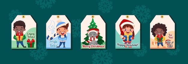 С рождеством и новым годом готовые подарочные бирки с милыми мультяшными детскими персонажами, котом и елочкой.
