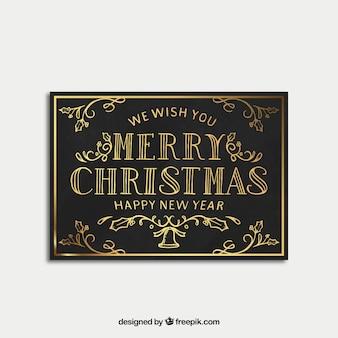 メリークリスマスと新年のレトロな黄金カード
