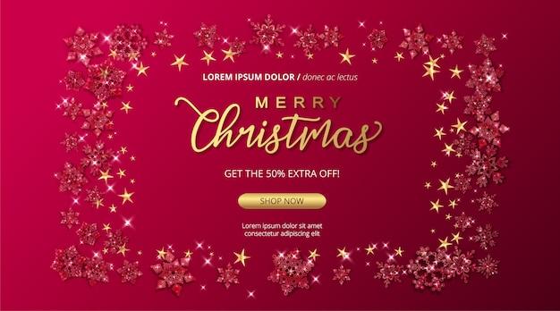 С рождеством и новым годом распродажа баннер со сверкающими стеклянными снежинками