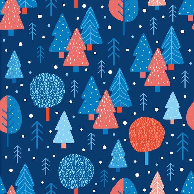 メリークリスマスと新年のシームレスなパターン。冬の針葉樹林と休日の背景
