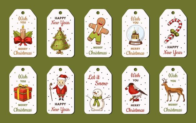 기쁜 성 탄과 새 해 태그 템플릿. 눈사람 및 크리스마스 트리, 촛불 사슴 및 사탕 지팡이, 산타 클로스.
