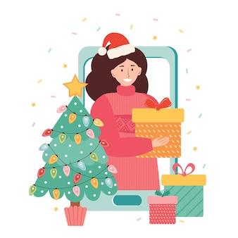 メリークリスマスと新年のベクトルイラスト。女の子はオンラインでインターネットを介して贈り物をし、新年あけましておめでとうございます。スマートフォン経由のビデオ通話。オンラインアプリケーションを介したギフト、割引、プロモーション