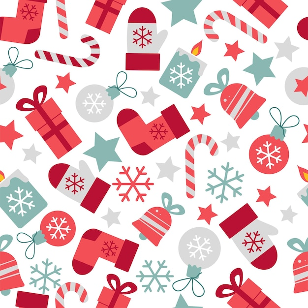 メリークリスマスと新年はあなたの装飾包装紙生地のためのシームレスなパターンをベクトルします